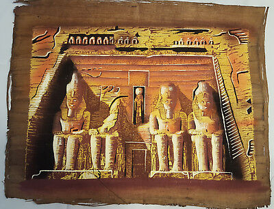 GREAT HAND PAINTED EGYPT ABU SIMBLE NATURAL PAPYRUS KING RAMSESSES II 40x30cm