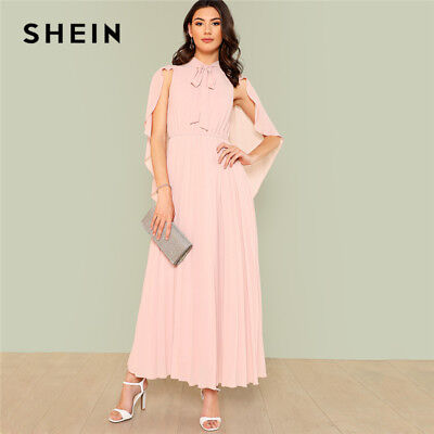 c4db9d42f6 SHEIN Pink Elegant Party Tie Neck Cloak Sleeve Pleated Panel Stand Collar  High