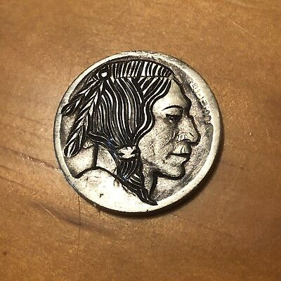 Hand Carved Hobo Nickel Coin Art Indian Tribe Elder