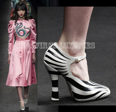 f203a63af0b  990 Gucci Shoes Lesley Mary Jane Pumps Zebra Inlay Black White It 37.5 Us  7.5