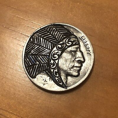 Hand Carved Hobo Nickel Coin Art Indian Headdress Feather Chief