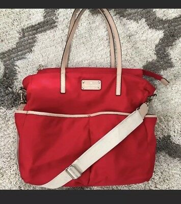 EUC RARE RED Kate Spade Kennedy Park Honey Baby Bag large tote