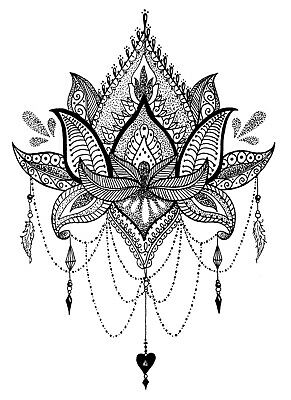 High Quality 13.5cm x 9.5cm Temporary Tattoo Mandala Flower Waterproof Body Art