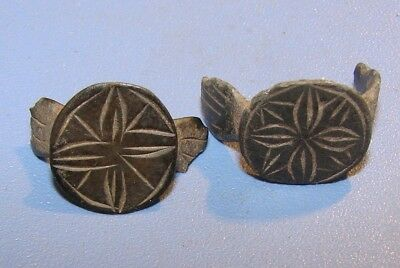 FRAGMENTS OF ANCIENT RINGS. Byzantine. BRONZE. ORIGINAL.