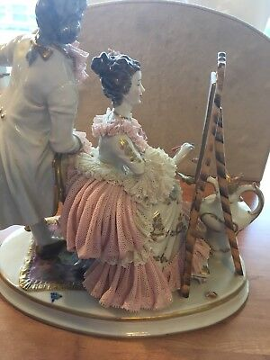 Vintage Dresden Lace Lady And Gentleman Painting Figurine