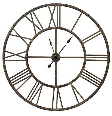 Extra Large Wall Clock French Metal Vintage Shabby Chic Retro Skeleton Brown
