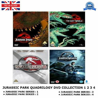 Jurassic Park Quadrilogy Complete Movie 1-4 All Films World Part 1 2 3 4 New Dvd