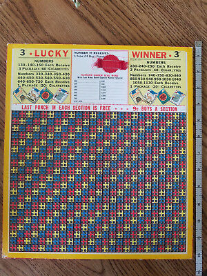 "Vintage 3 cent ""Lucky Winner"" Punch Boards size 2000 12"" x 11"""