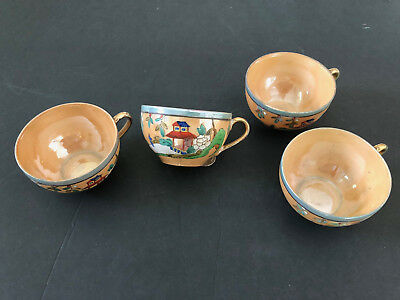 Lot of 4 Takito TT Japan TKI127 Blue Orange Luster, Person, Pagoda - TEA CUPS