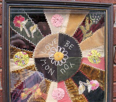 Antique Needlework Embroidery Quilt Samples~Shadow Box Folk Art~French Beading