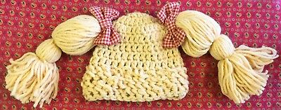 Crochet Cabbage Patch Hat for Baby ~ Blonde ~ size 3-6 months ~ New Handmade