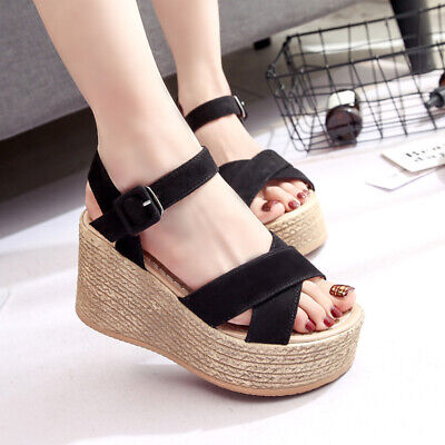 c8b60379e9b Women s Sandals Roma Peep Toe Wedge High Heels Casual Summer Platform Shoes  New