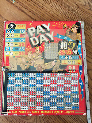 "Vintage 5 cent per roll  ""Pay Day"" Punch Board Trade Simulator Dice"