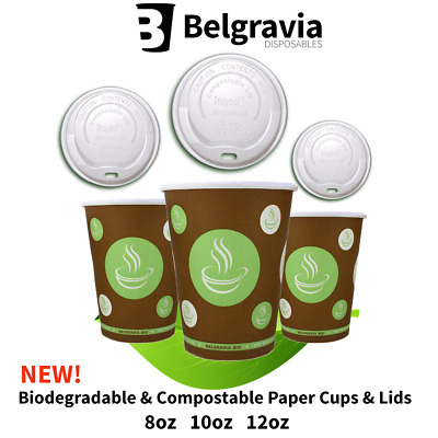 Belgravia 100% Biodegradable & Compostable Paper Cups + Lids 8oz 10oz 12oz