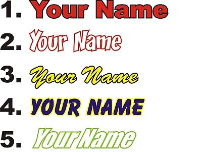 Custom Pair Of Two Colour Screen / Helmet Name Decals Stickers Graphics