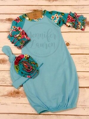 Custom floral baby gown & matching hat, turquoise*Price includes personalization