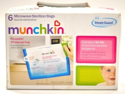 STEAM GUARD MICROWAVE STERILIZER BAGS by Munchkin - 6 Pack - 20 Uses Per Bag