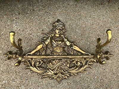 Vintage Heavy Cast Solid Brass Lady Figural Wall Coat Rack Rail 18""