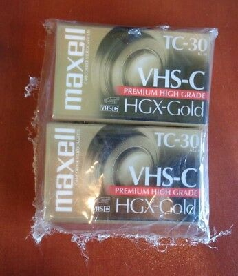New 2 Pack Maxell Camcorder Videocassette Tc-30 Hgx-Gold Vhs-C
