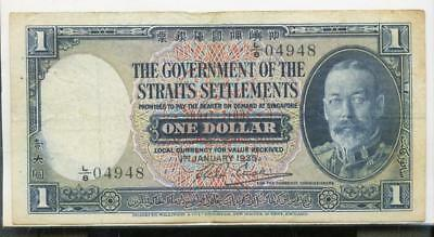 Vintage Straits Settlements one dollar 1935 banknote Currency paper money