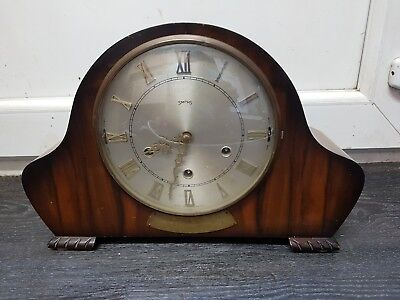 Vintage  SMITHS Mantel Clock, Chimes with pendulum and key pristine condition.
