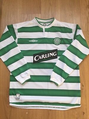 Men's Celtic Football Jersey L 100 Years Of The Hoops 7 Larsson Long Sleeves