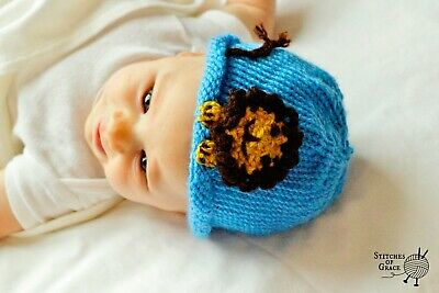 Hand Knitted Hat with Lion Face, Wild Animal Photo Shoot, Safari Themed, 0-3 mos