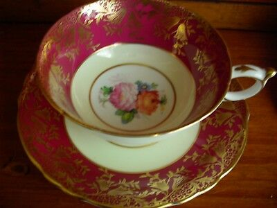 STUNNING PARAGON WIDE  tea cup and saucer red & gold gilt FLOWERS rose center
