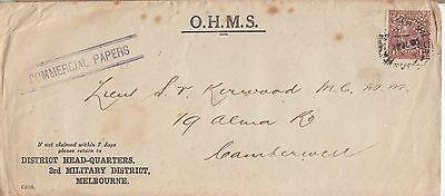 AUSTRALIA OHMS Military Mail  District Headquarters tied by 11/2d GV OS Perfin