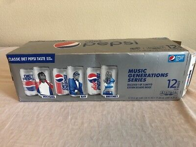 Britney Spears Music Generations Unopened Diet Pepsi Cans 12 Pack