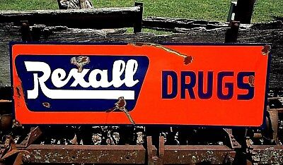 Vintage REXALL DRUGS Store Sign Advertisement Pharmacy Prescription 36""