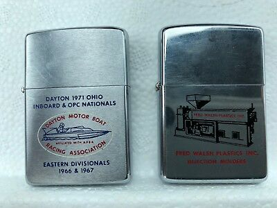 Vtg lot of 2 Zippo Lighters 60s 70s Pat. 2517191 Boat Racing & Injection Molding
