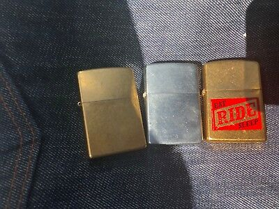 Vtg lot of 3 Zippo Lighters