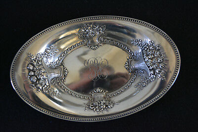 Wonderful Whiting Sterling Silver Bowl With Baskets of Flowers Made 1908