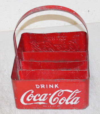 Vintage 1950's Coca-Cola Stadium Bottle Carrier Holder Caddie Embossed Sides
