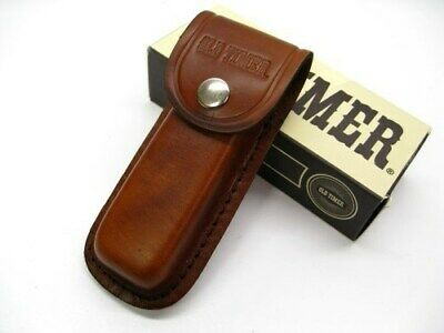 """Schrade LS2 Brown Leather Belt Pouch Sheath For Folding Knife Tool Up To 5"""""""