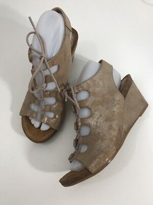 e3b4737fbe7f Sofft Maize Lace Up Leather Wedge Sandal Heel Metallic Open Toe NEW Sz 8.5  NWOB