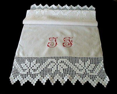 RARE Huge Antique Victorian Linen Show Towel  Hand Loomed Redwork Embroidered