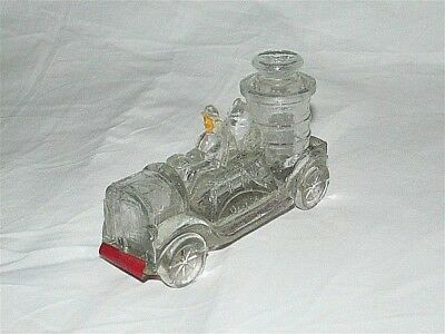 Vtg Antique Fire Truck Glass Candy Container Red Metal Bottom Partial Paint
