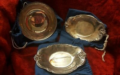 Pair Vintage Int'l Silver Company Silverplated #448 Nut Candy Dish w/ bowl
