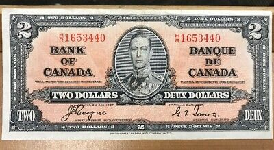 1937 $2 Two Dollar Deux Dollars Bank of Canada Bank Note Beautiful Condition!