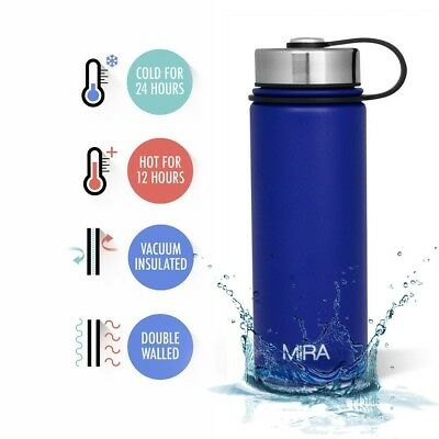 Thermos Stainless Steel Vacuum Insulated Wide Mouth Water Bottle 16OZ Blue