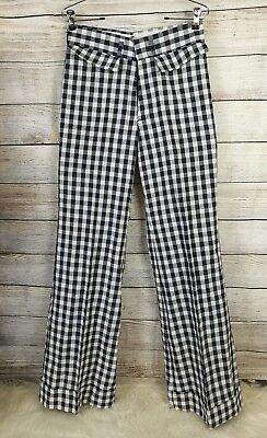 Tobias Trousers Size 28x34 Blue And White Gingham Bell Bottom Pants 60's 70's