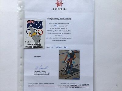 1996 DYNAMIC OLYMPIC REDEEMED SIGNATURE CARD WITH COA - Brad McGee - B053