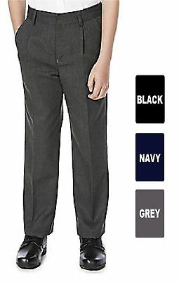 Age 1-13 Boys Pull Up School Trousers Elasticated Back Black Grey Navy Teflon