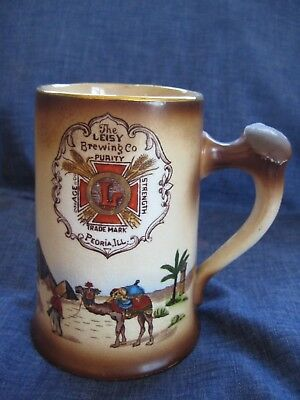 """Pre Prohibition """"Leisy Brewing Co."""" Advertising Beer Stein Peoria Illinois"""