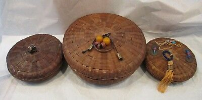 3 Antique/Vintage Chinese Sewing Baskets w/Lids & Peking Glass Rings/Beads/Coins
