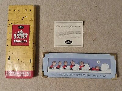 """2000 Hallmark Peanuts Gallery Comic Strip """"DON'T GIVE UP"""" Linus"""