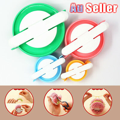 4 Sizes Wool Tool Knitting Loom Ball Weaver Needle Craft DIY Pompom Maker
