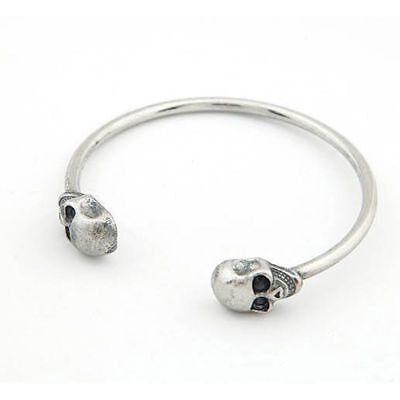 Jewelry Alloy Metal Skeleton Skull Bangle Bracelet Gothic Rock Cool Cuff New GT
